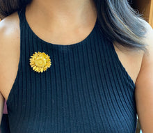 Load image into Gallery viewer, Asprey Sunflower 18K Gold and Diamond Brooch Pendant