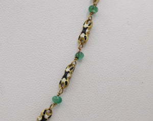 Antique 18K Gold Black and White Enamel and Emerald Necklace Chain