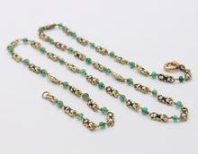 Load image into Gallery viewer, Antique 18K Gold Black and White Enamel and Emerald Necklace Chain