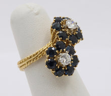 Load image into Gallery viewer, Vintage Diamond and Sapphire 18K Gold Italian Bypass Flower Ring - alpha-omega-jewelry