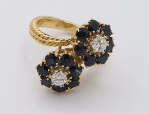 Vintage Diamond and Sapphire 18K Gold Italian Bypass Flower Ring - alpha-omega-jewelry