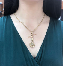 Load image into Gallery viewer, Edwardian 14K Gold Swallow and Horseshoe Reversible Spinning Locket Pendant - alpha-omega-jewelry