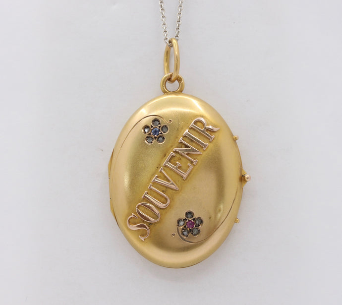 Russian Victorian 14K Gold and Diamond Souvenir Locket Pendant - alpha-omega-jewelry