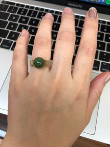 Vintage 14K Gold and Nephrite Jade Bead Ring - alpha-omega-jewelry