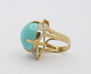 Large Natural Turquoise and Diamond 18K Gold Statement Ring - alpha-omega-jewelry