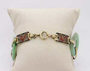 Art Deco Enos Richardson 14K Gold Jade and Enamel Dragon Statement Bracelet