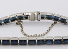 Load image into Gallery viewer, Platinum 7.7 Carat Natural Sapphire Straight Line Bracelet