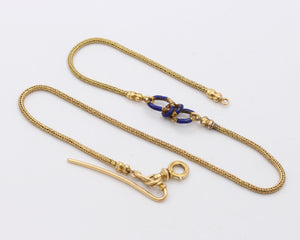 Victorian 18K Gold and Blue Enamel Infinity Watch Chain