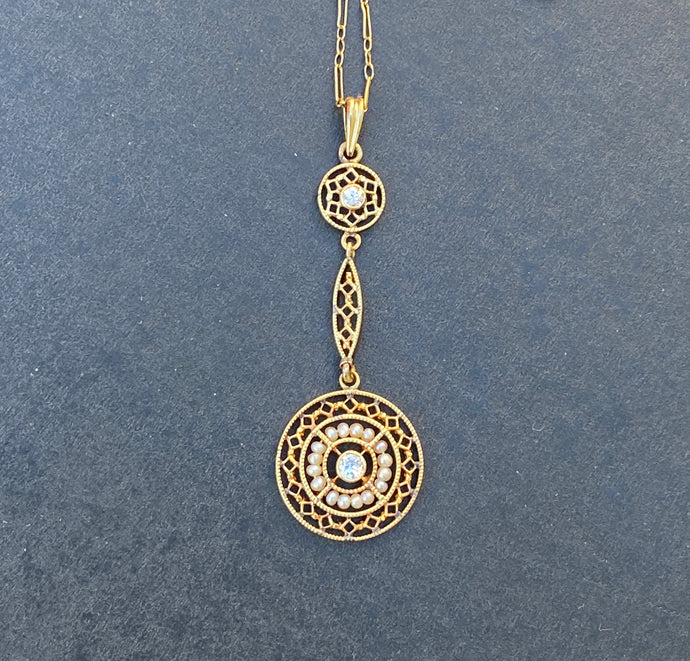 Art Deco 14K Gold Diamond and Pearl Filigree Lavalier Necklace