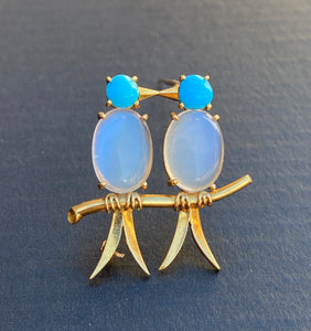 Vintage Van Cleef and Arpels 18K Gold Moonstone and Turquoise Love Birds Pin