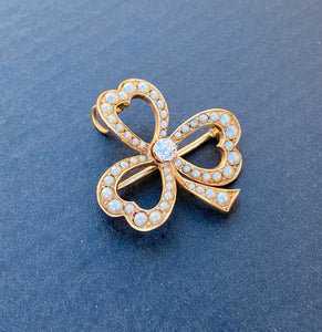 Edwardian 14K Gold, Diamond and Split Pearl Clover Shamrock Pendant, Pin