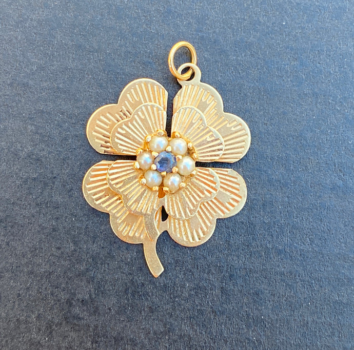 Vintage 14K Gold Sapphire and Pearl Clover Shamrock Charm, Pendant