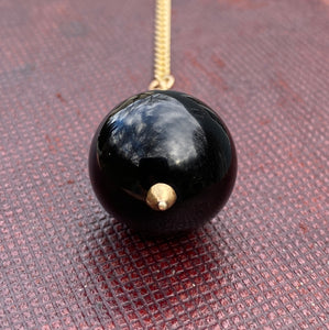 Large Victorian 14K Gold Banded Agate Ball Charm, Pendant