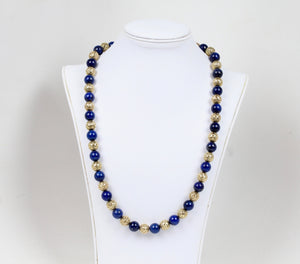 Vintage Heavy 14K Gold and Lapis Lazuli 26 Inch Beaded Necklace - alpha-omega-jewelry