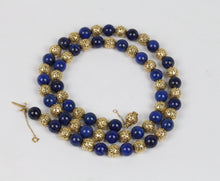 Load image into Gallery viewer, Vintage Heavy 14K Gold and Lapis Lazuli 26 Inch Beaded Necklace - alpha-omega-jewelry