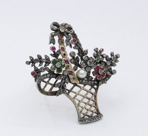 French Victorian 18K Gold Silver Diamond Gemstone Giardinetti Flower Brooch - alpha-omega-jewelry
