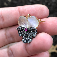 Load image into Gallery viewer, French Victorian Moonstone and Diamond 18K Gold Pansy Pendant Brooch