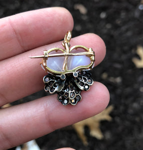 French Victorian Moonstone and Diamond 18K Gold Pansy Pendant Brooch