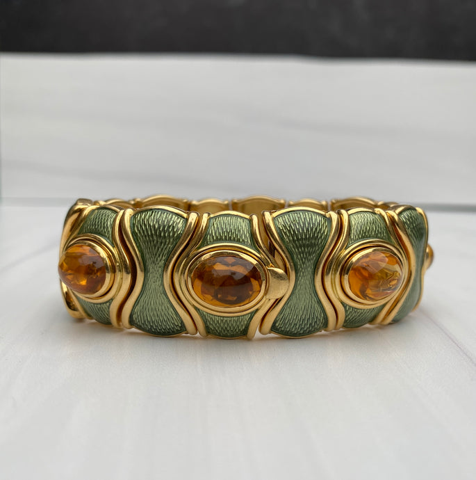 De Vroomen 18K Gold Enamel and Citrine Substantial Statement Bracelet