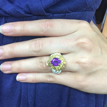 Load image into Gallery viewer, Funky Natural Amethyst and White Enamel Heavy 18K Gold Ring