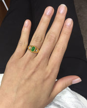 Load image into Gallery viewer, Vintage Jade and Star Set Diamond Gypsy Three Stone Ring, Stacking Band