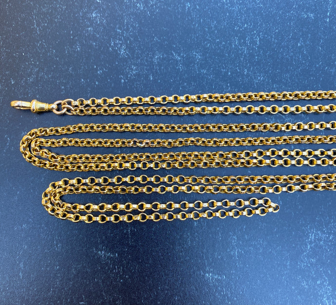 Antique 15K Gold 58 Inch Longuard Antique Chain Necklace
