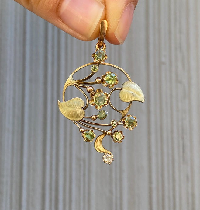 Russian Art Nouveau Demantoid Garnet and Diamond Enamel 14K Gold Foliate Pendant