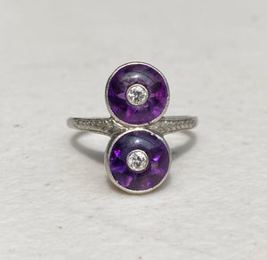 Art Deco Amethyst and Diamond Platinum Elongated Dinner Ring