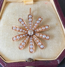 Load image into Gallery viewer, Victorian 14K Gold, Diamond, Split Pearl Daisy Pendant, Antique Pin
