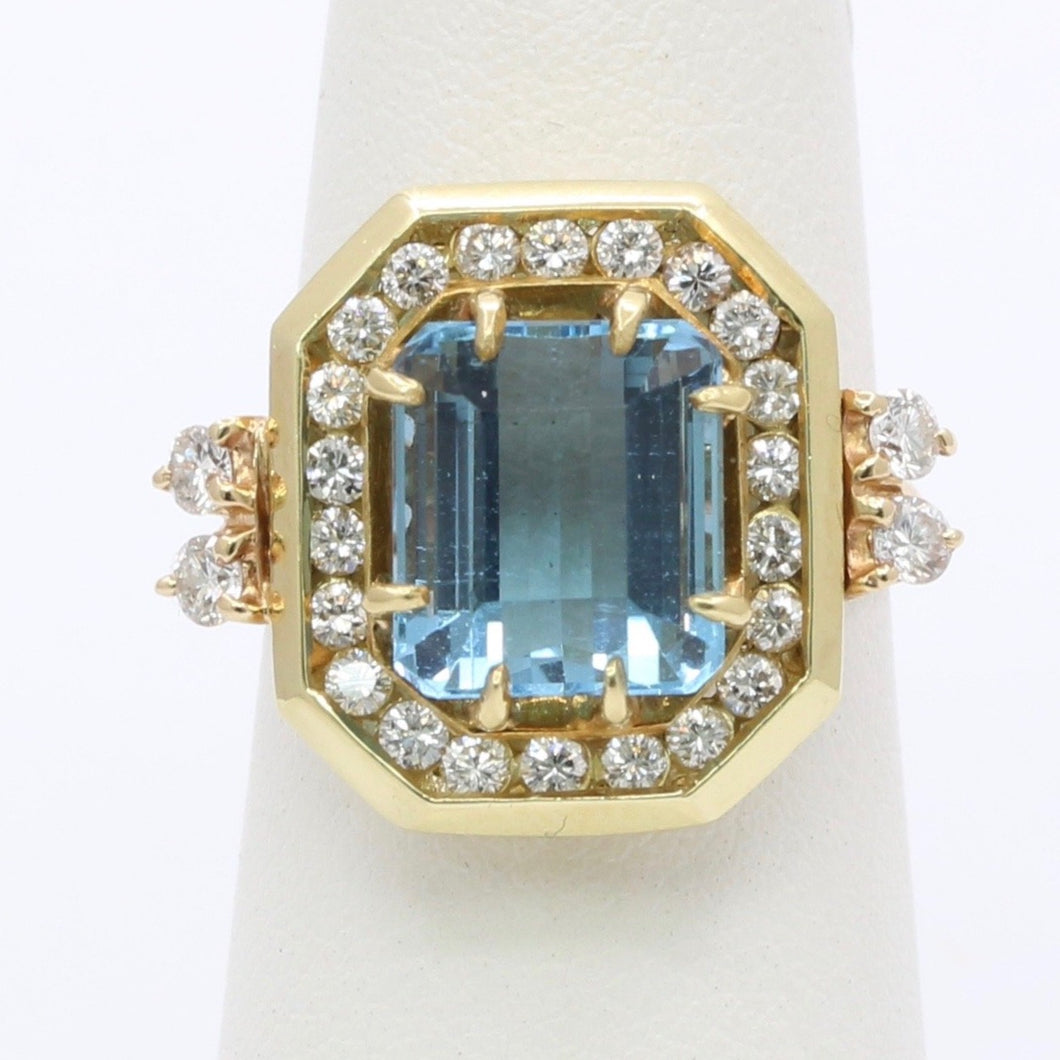 Aquamarine and Diamond 18K and 14K Gold Conversion Ring