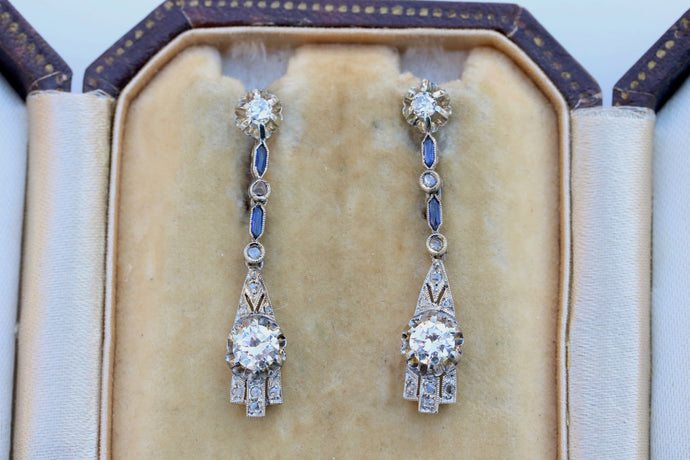 Art Deco Long Diamond and Sapphire Drop 14K Gold Earrings