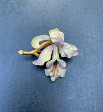 Load image into Gallery viewer, Large Art Nouveau Whiteside & Blank Iridescent Enamel 14K Gold Orchid Pin Brooch