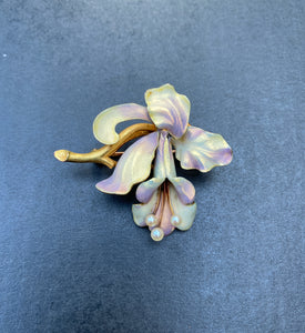 Large Art Nouveau Whiteside & Blank Iridescent Enamel 14K Gold Orchid Pin Brooch