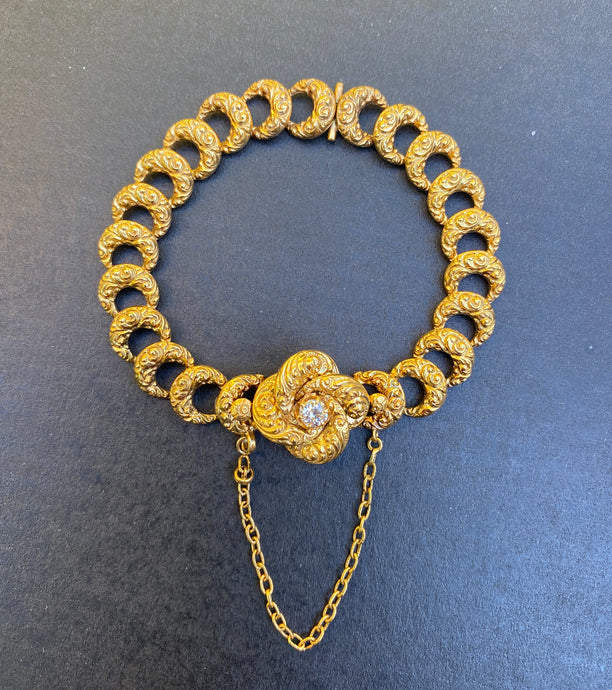 Edwardian 14K Gold and Diamond Love Knot High Relief Bracelet