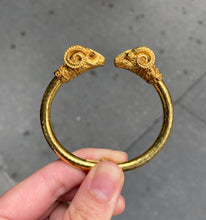 Load image into Gallery viewer, Vintage Lalaounis 18K Gold and Diamond Double Ram's Head Bangle Bracelet