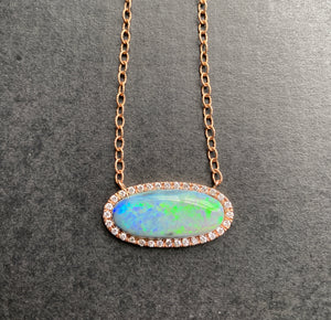Large Australian Opal and Diamond Halo East to West 14K Rose Gold Necklace