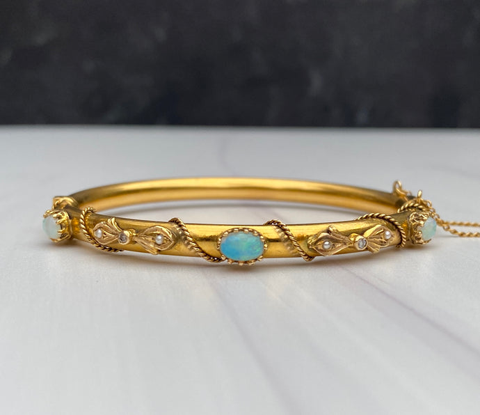 Victorian 14K Gold Opal Diamond and Pearl Bangle Bracelet