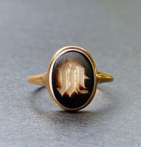 "Victorian Banded Agate ""M"" Initial 18K Gold Signet Ring"