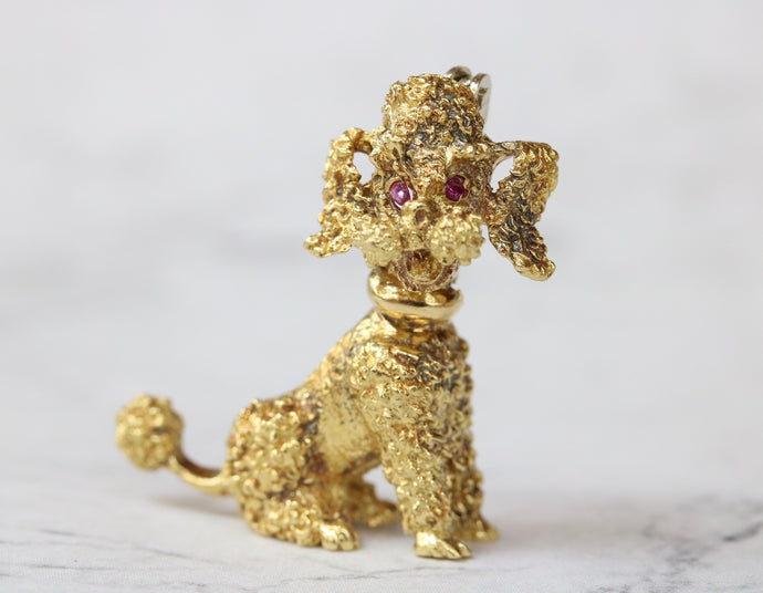 Vintage 18K Gold Poodle Dog Brooch Pin