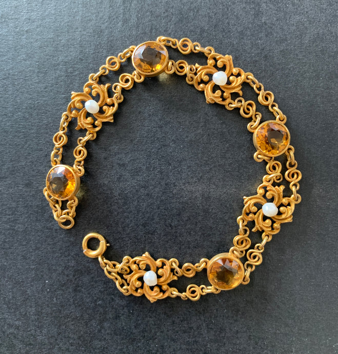 Art Nouveau 14K Gold, Citrine, Pearl Ornate Scrolled Motif Bracelet