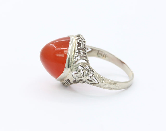 Art Deco 14K White Gold Agate Carnelian Filigree Ring