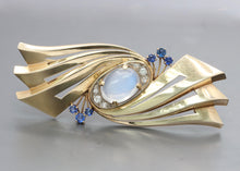 Load image into Gallery viewer, Retro Tiffany & Co Moonstone Sapphire and Diamond 14K Gold Abstract Brooch