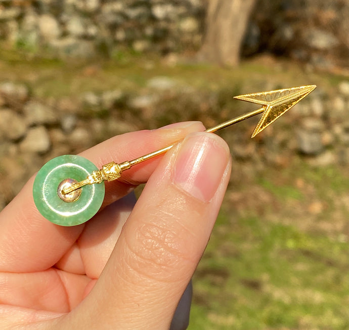 Art Deco 14K Gold and Green Jade Arrow Jabot Pin