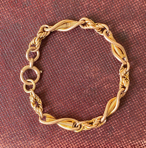 Antique English 9K Yellow Gold Ornate Twist and Knot Bracelet