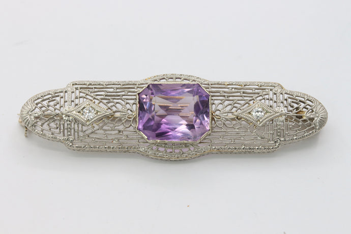 Art Deco 14K Gold Amethyst and Diamond Filigree Bar Pin