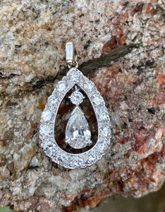 Vintage Platinum and 2.18 Carat Diamond Drop Dangle Pendant