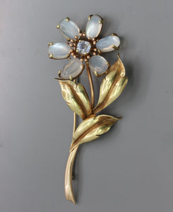 Large Midcentury Moonstone and Sapphire Daisy Flower 14K Gold Brooch