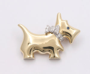 Vintage 14K Gold and Diamond Scottish Terrier Dog Pin, Animal Brooch
