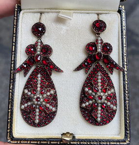 Large Antique Bohemian Garnet and Pearl Silver Drop Statement Earrings