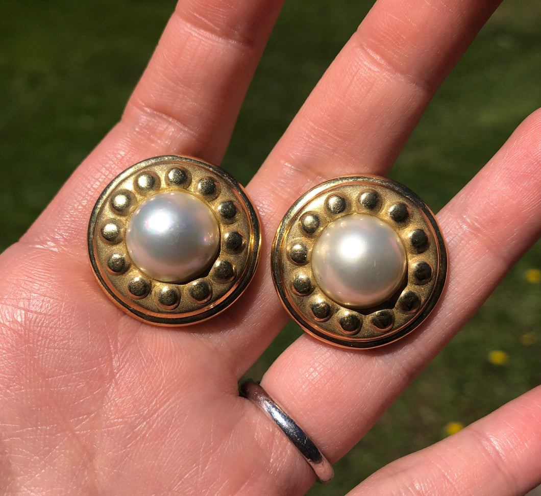 Large Vintage 18K Gold Mabe Pearl Button Clip Earrings